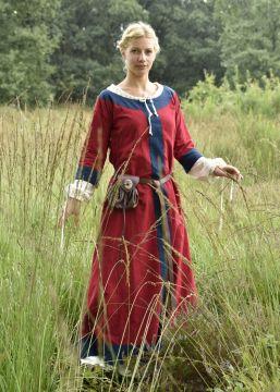 Robe médiévale Radegonde rouge-bleue