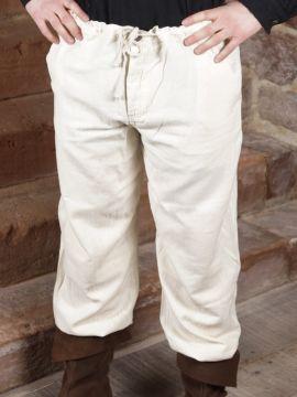 Pantalon à laçage en coton, blanc L