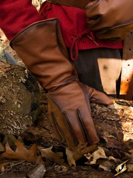 Gant de fauconnier en cuir marron- imitation M