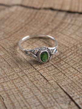 Bague en argent avec pierre en Zircon vert 56