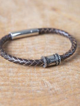 Bracelet en cuir marron avec perle Viking