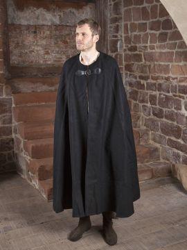 Cape en laine unisexe noir