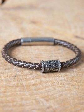 "Bracelet en cuir tressé avec perle viking ""Corbeaux d'Odin"" grande"