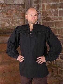 Chemise médiévale unisexe, noire XL