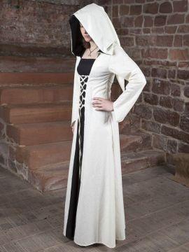 Robe médiévale Luna en blanc et noir au centre 34