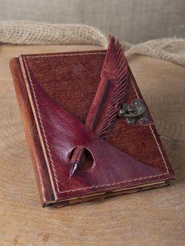 Carnet en cuir et stylo en cuir rouge