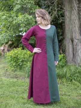 Robe médiévale bicolore à boutons bordeaux et vert L