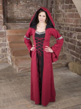 Robe médiévale Helena en rouge et noir 38