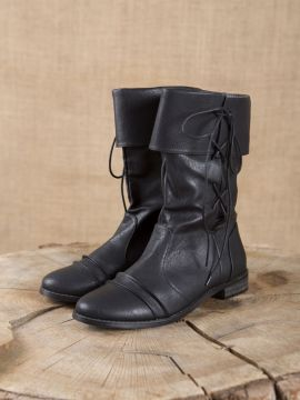 Bottines médiévales similicuir, noires 45