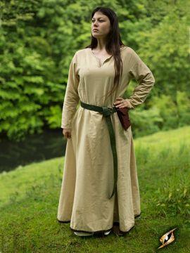 Robe avec surpiqures en beige XL