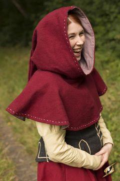 Capuchon en laine rouge avec surpiqures S/M