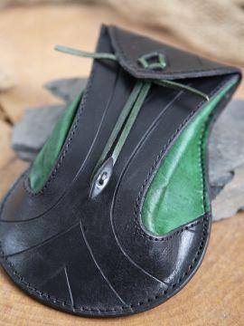 Bourse elfique en cuir épais en noir et vert