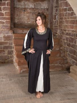 Robe médiévale à gros galons, noire et écrue XL