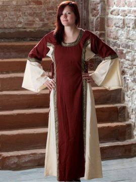 Robe médiévale bicolore à galons L