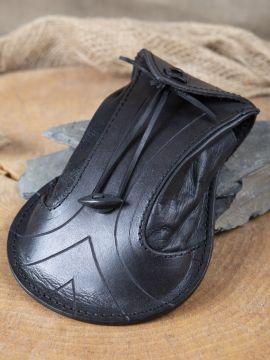 Bourse elfique en cuir épais en noir