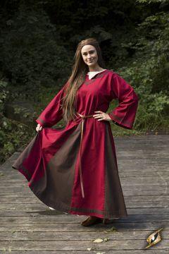 Robe médiévale Astride bicolore en marron et rouge