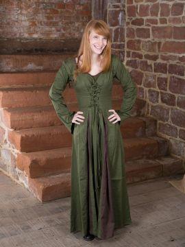 Robe Médiévale Alina en vert olive et marron L/XL