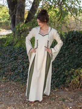 Robe médiévale bicolore à capuche en écru et vert olive