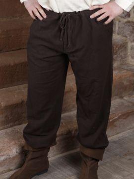 Pantalon à laçage en coton, marron foncé