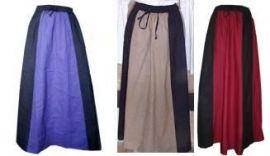 Jupe médiévale bicolore coton/lin S/M   noir/vert