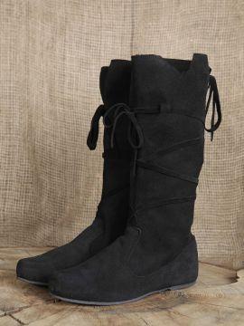 Bottes médiévales en cuir chamoisé à lacets, en noir