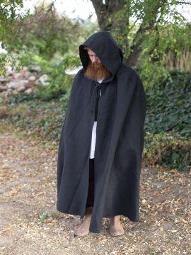 Cape en coton rustique en noir à longue capuche