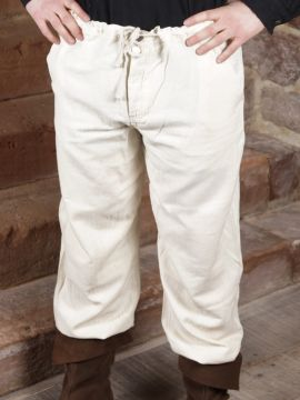 Pantalon à laçage en coton, blanc XXL