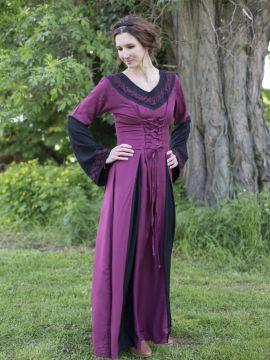 Robe médiévale bicolore avec broderie en noir et rouge L/XL