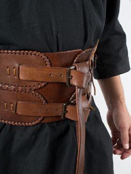 Ceinture corset en cuir, en marron L