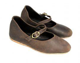Chaussures médiévales Cecilie nubuck marron